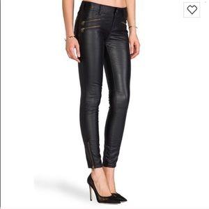 Free People Faux Leather Zip Moto Pants
